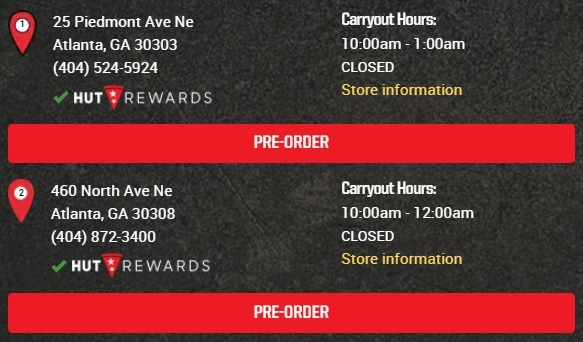 Pizza Hut Atlanta Restaurants Information - Hours, Phone numbers