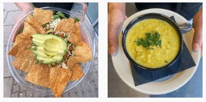 Avocado and soup at Seva Restaurant