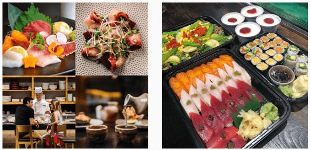 The sushi at Kaz restaurant