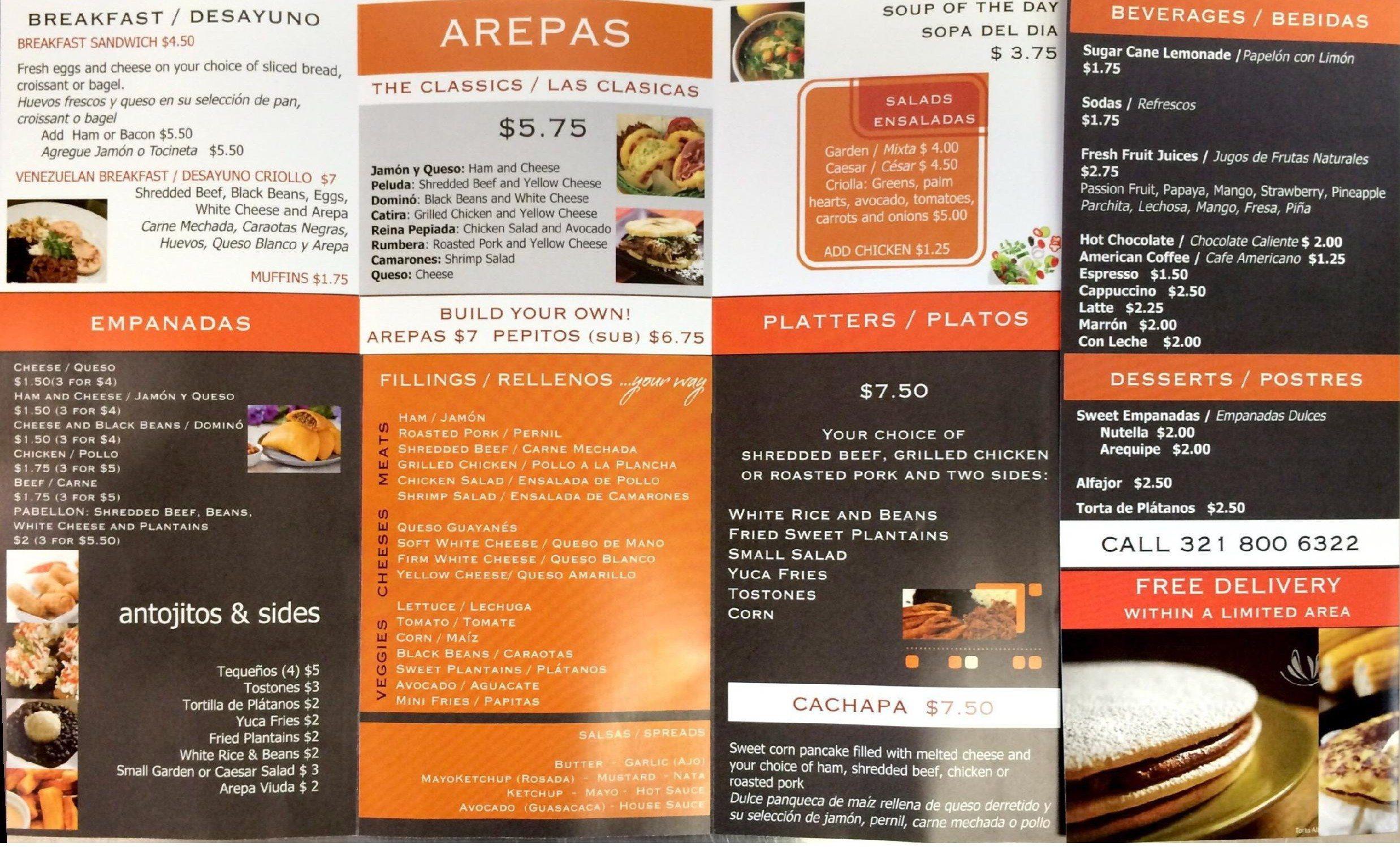 Napa Cafe menu