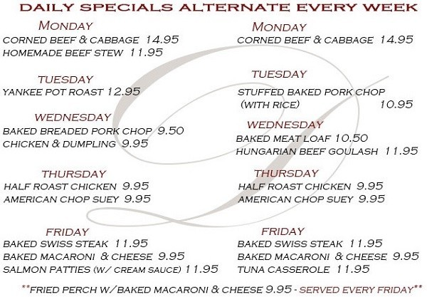Diamands Restaurant Daily Specials