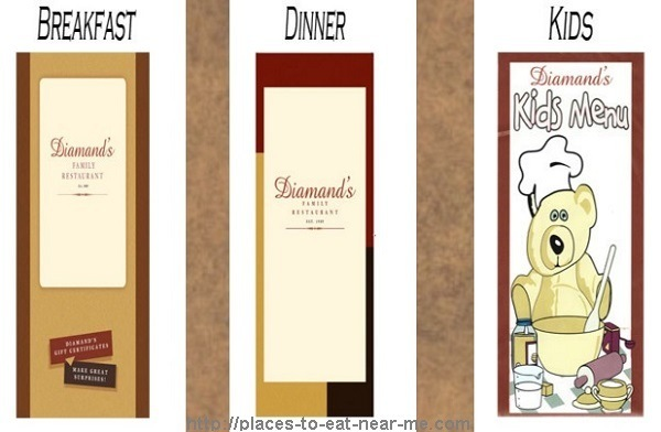 Diamands Restaurant Menu