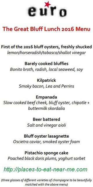 Euro Restaurant Bluff Oyster Lunch Menu