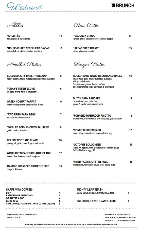 Westward Brunch Menu