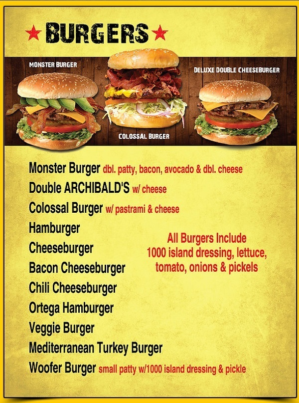 Archibalds Drive Thru Burger Menu