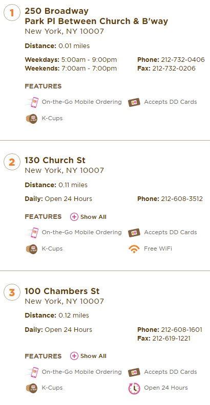 Dunkin Donuts Restaurants Near New York NY 10007