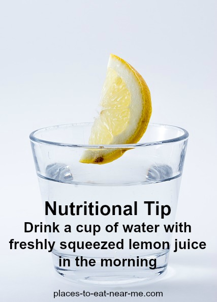 Nutritional tip drink cup of water with lemon