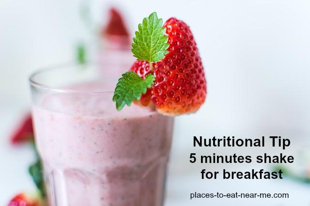 Nutritional tip fruit vegetable 5 minutes breakfast shake