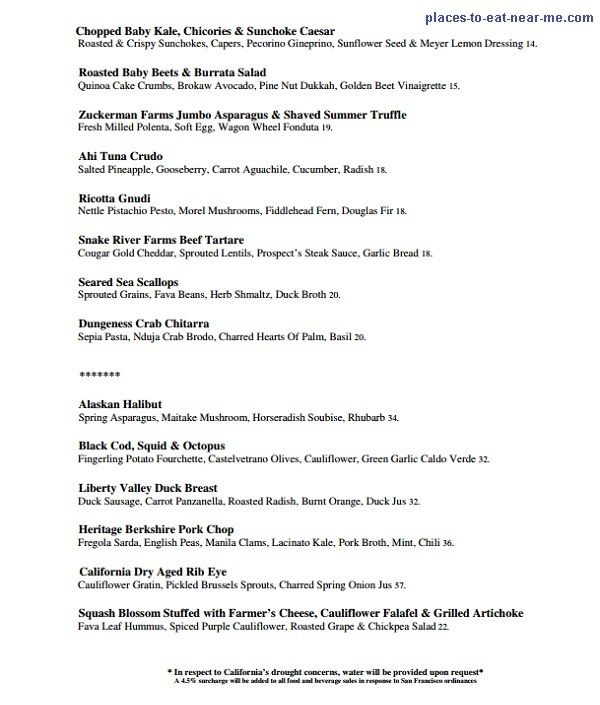 Prospect Restaurant SF Dinner Menu
