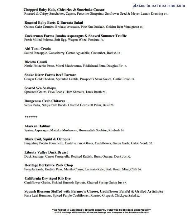 Prospect Restaurant SF Dinner Menu
