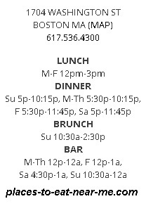 Toro restaurant Boston hours, number and address
