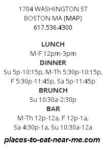 Toro restaurant Boston hours, number and address