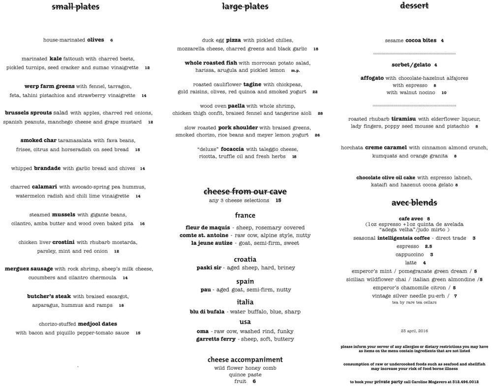 Avec Restaurant Chicago IL - Dinner Menu