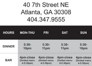 Ecco Restaurant Atlanta address and hours