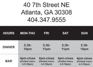 Ecco Restaurant Atlanta address and hours