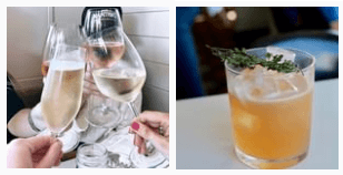 Cocktails and wines at Fishing with Dynamite
