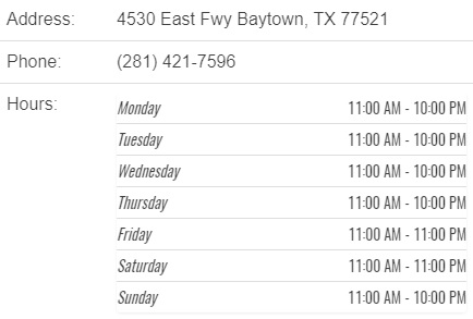 Cheddars Restaurant Baytown address, phone and hours