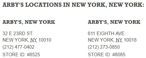 Arbys Locations in New York City NY