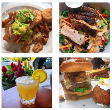 Burger and chicken at The Basics restaurant