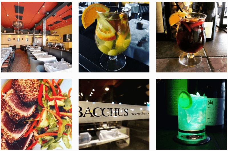 Food and cocktails at Bacchus Restaurant