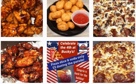 Pizza at Bucky's restaurant
