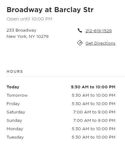 Starbucks Broadway Restaurant Information