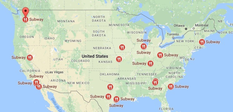 Awesome Map Of Every Subway Restaurant In Us Pictures - Printable ...