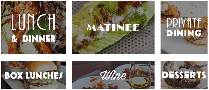 Types of menus at Artista Restaurant