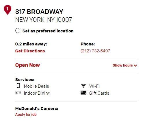 McDonalds 317 Broadway Restaurant Information