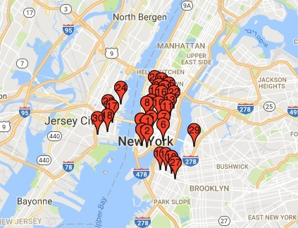Map of McDonalds restaurants in New York City