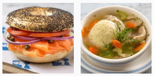 Burger and soup at Russ and Daughters restaurant