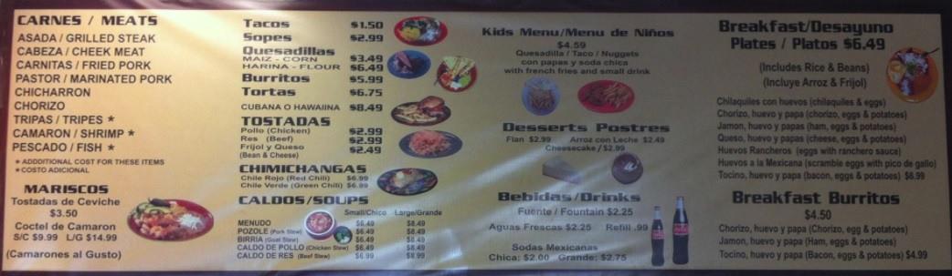 Don Pancho Mexican Food Avondale AZ Menu