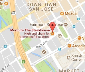Location of Morton's The Steakhouse in San Jose