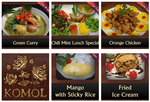 Vegetarian Thai food at Komol Restaurant