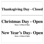 Pho 85 - Thanksgiving Christmas New Years Day Open Closed