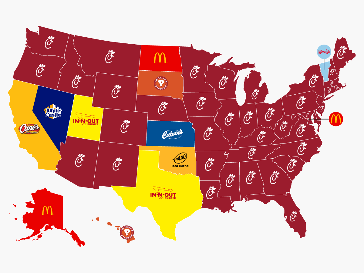 Most popular fast food chain by state