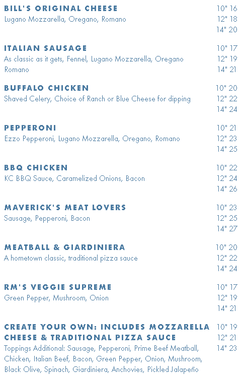 Bill's Tavern Pizza Menu with Prices