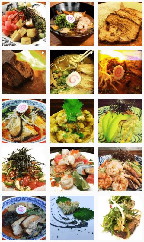 Ramen soups and seafood at Hinomaru restaurant